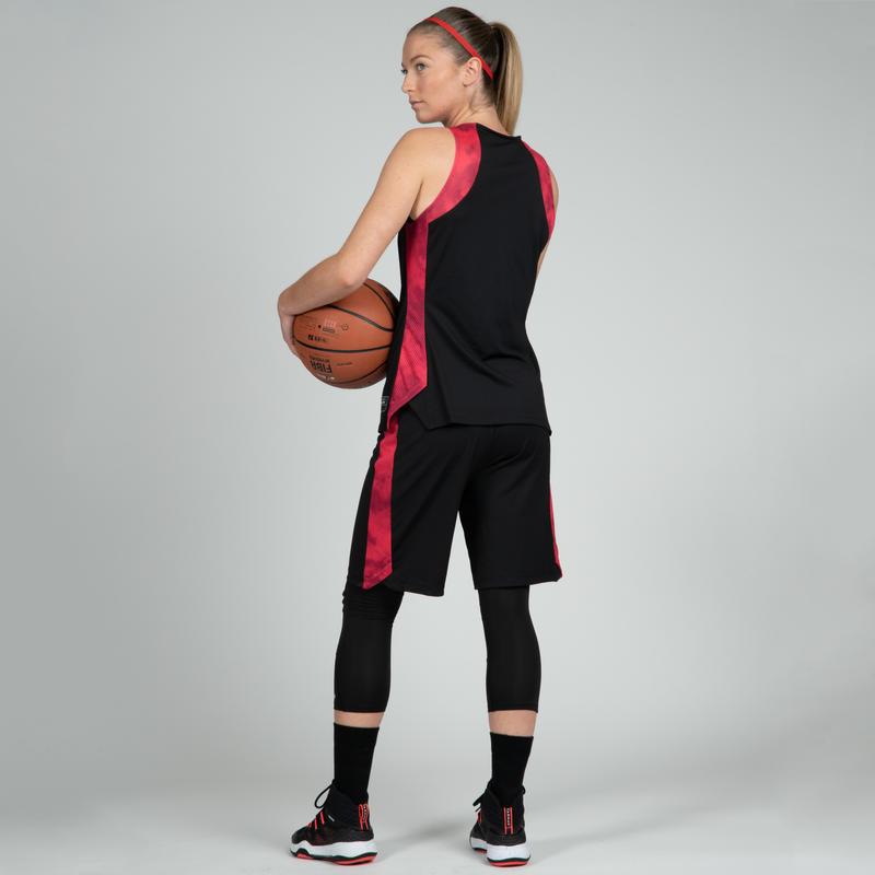 T500 Women's Basketball Jersey - Black/Pink