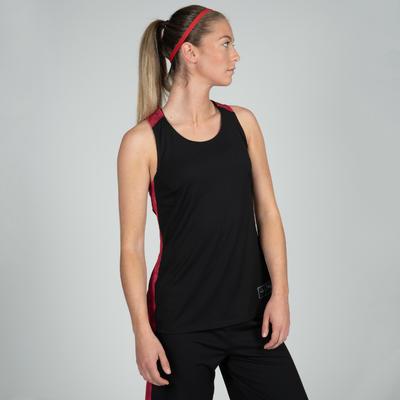 Camiseta Baloncesto Tarmak T500 F Mujer Esqueleto Negro Rosado Coral