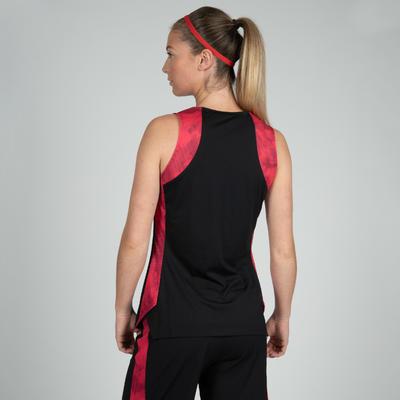 Camiseta Baloncesto Tarmak T500 F Mujer Sin mangas Negro Rosa Coral