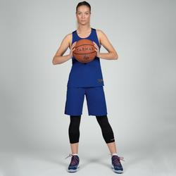 Basketbalshirt voor dames blauw zwart T500