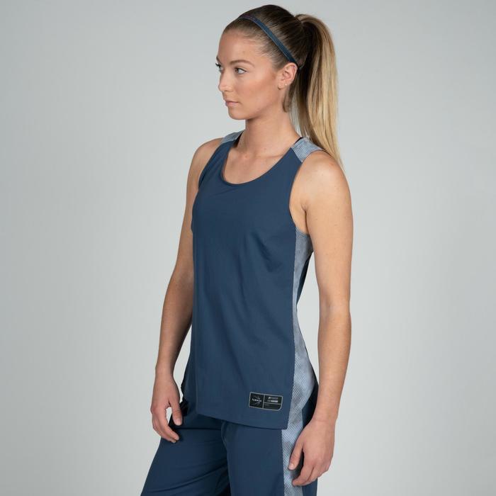 Basketbaltank voor dames marineblauw grijs T500