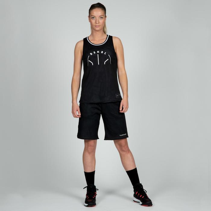 SHORT REVERSIBLE DE BASKETBALL FEMME NOIR GRIS SH500R
