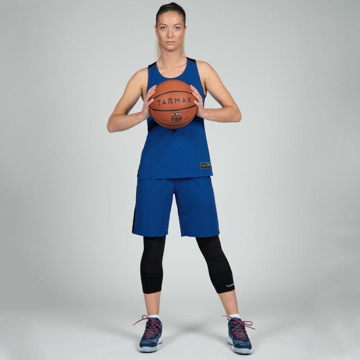 Basketbalshort dames blauw zwart SH500