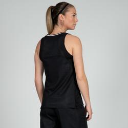 Omkeerbaar basketbalshirt dames zwart grijs T500R