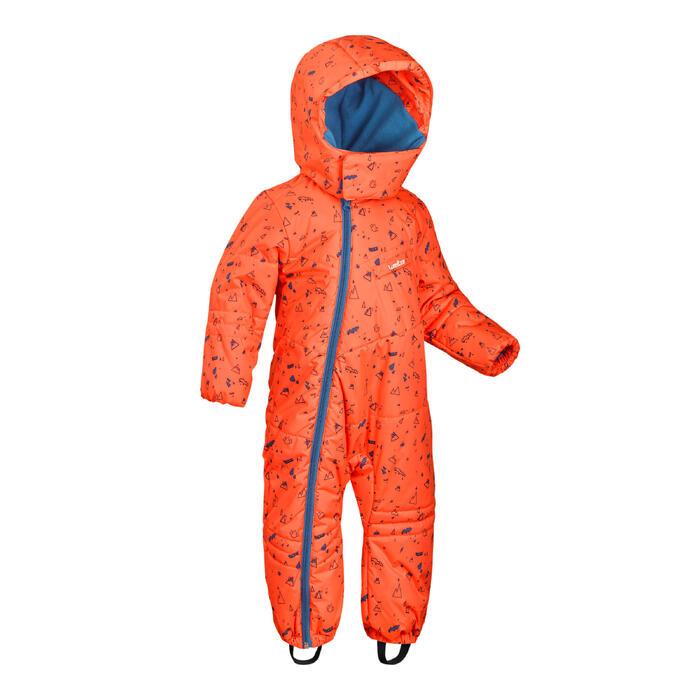 嬰幼兒滑雪/雪橇滑雪衣Warm - 橘色與藍色印花