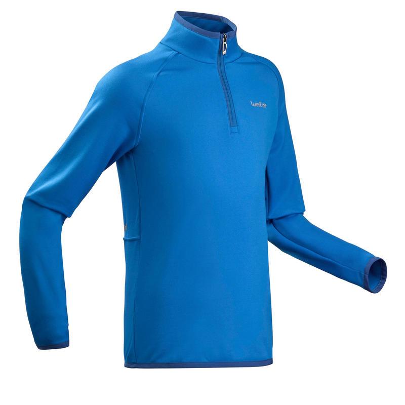 Sous-vêtement de ski enfant Haut Frais et chaud 1/2 glissière Bleu