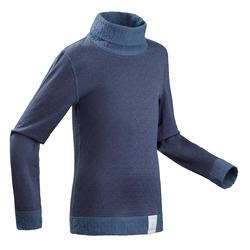 兒童底層滑雪上衣2WARM - 軍藍色藍色