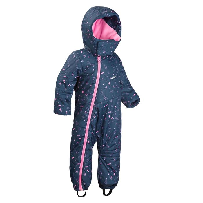 Babies' Skiing/Sledging Ski Suit Warm - blue and pink print