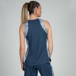 Basketballtrikot T500 Damen marineblau/grau