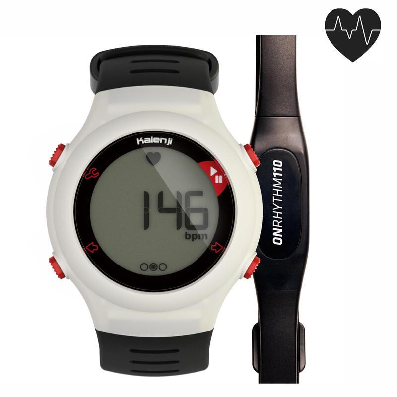 Běžecké hodinky s měřením tepové frekvence ONrhythm 110 bílé