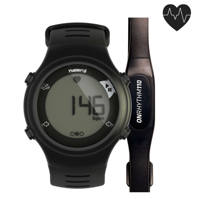 CARDIOFREQUENZIMETRO Running, Trail, Atletica - Cardiofrequenzimetro ONRHYTHM 110 nero KALENJI - Running, Trail, Atletica