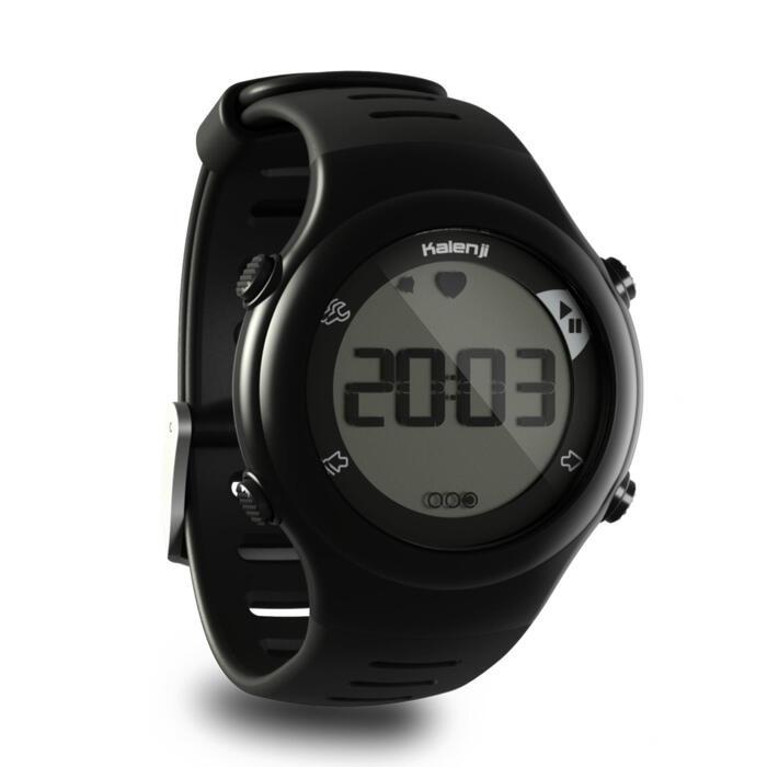 Horloge met hartslagmeter hardlopen ONrhythm 110 zwart