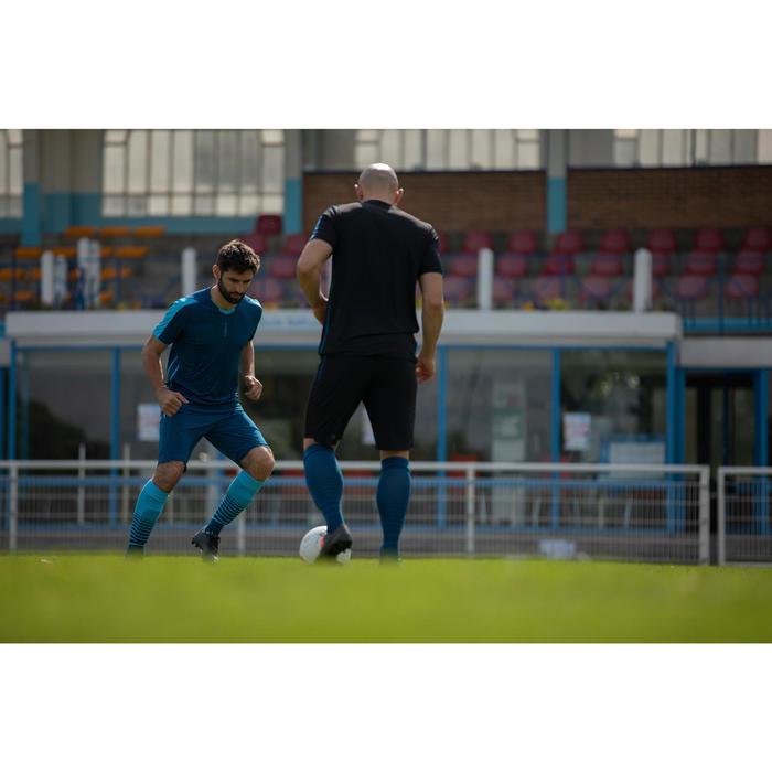 Voetbalshort voor volwassenen 3 in 1 F540 petroleumblauw