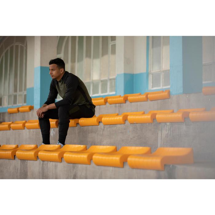 Sweat de football 1/2 zip adulte T500 édition limitée noir Kaki EXCLUSIVITÉ WEB