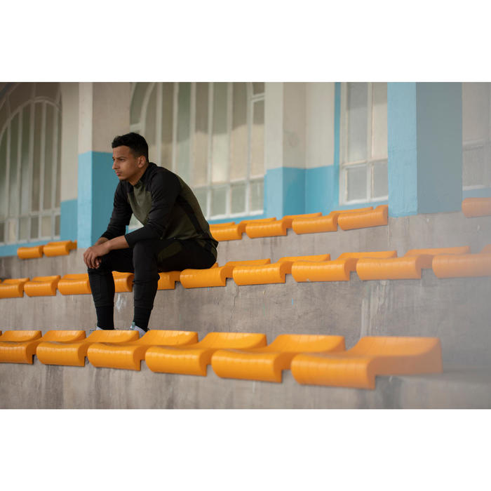 Voetbalbroek voor volwassenen T500 zwart/kaki EXCLUSIEF ONLINE