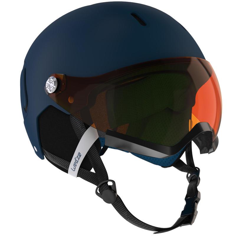 Adults' Downhill Ski Helmet with Visor - Blue