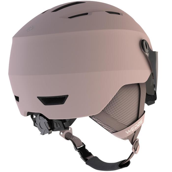 Skihelm met vizier voor pisteskiën volwassenen H350 roze
