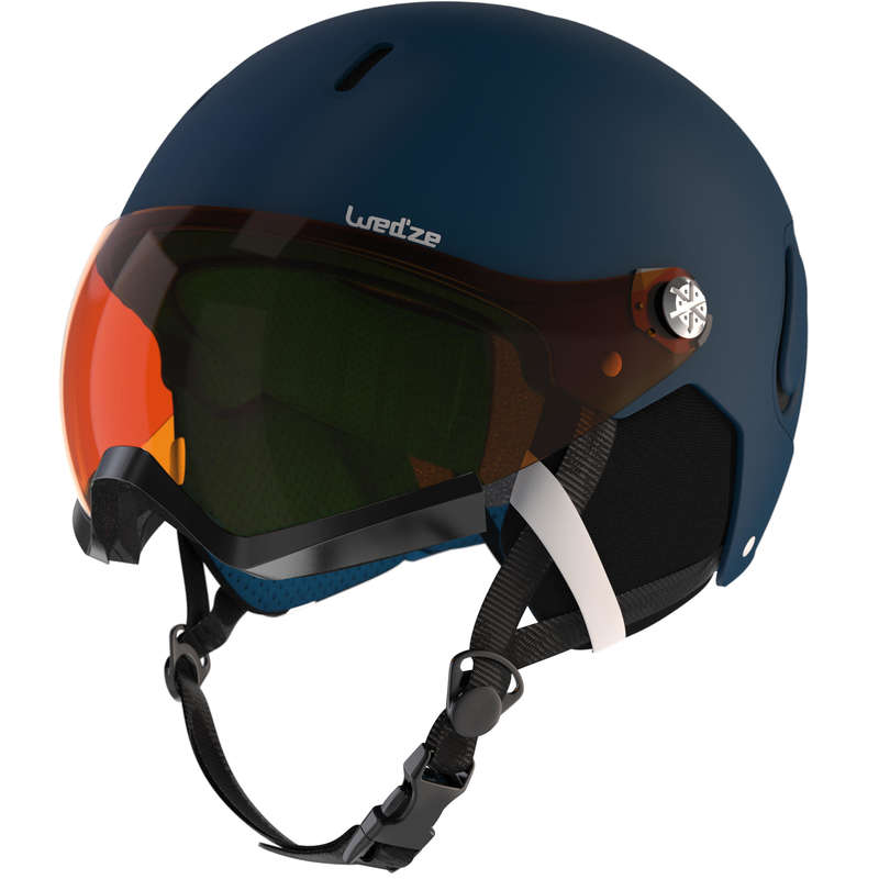 Caschi adulto Sci, Sport Invernali - Casco visiera FEEL150 blu WEDZE - Attrezzatura sci