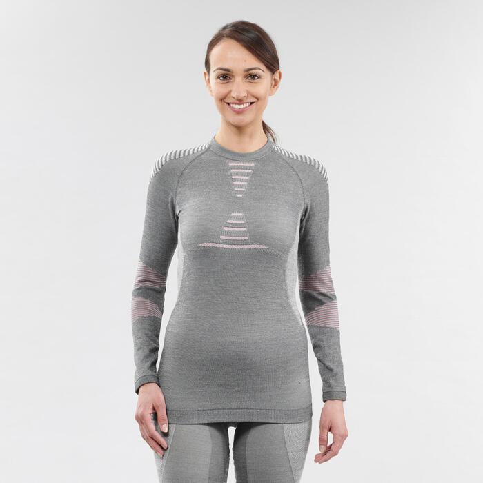 Sous-vêtement de ski femme 900 laine haut gris/rose