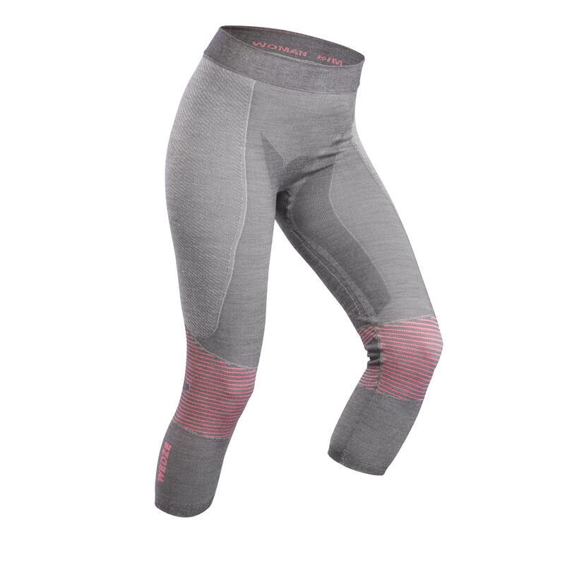 Pantaloni termici sci donna 900 WOOL grigio/rosa
