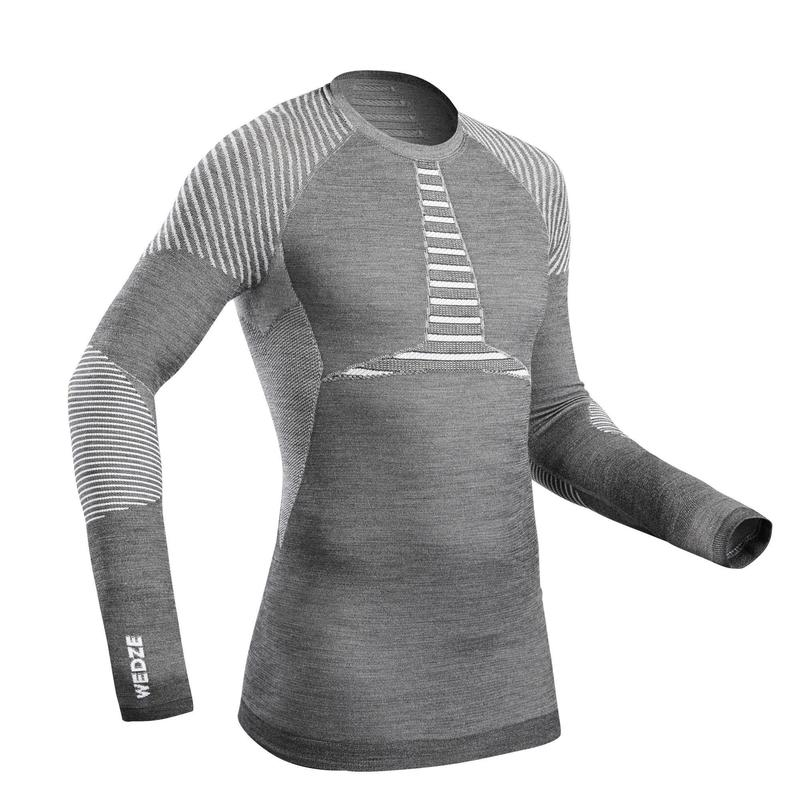 Men's skiing Base Layer Wool Top 900 - Grey