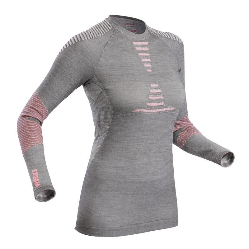 Women's Ski Base Layer Wool Top 900 - Grey/Pink