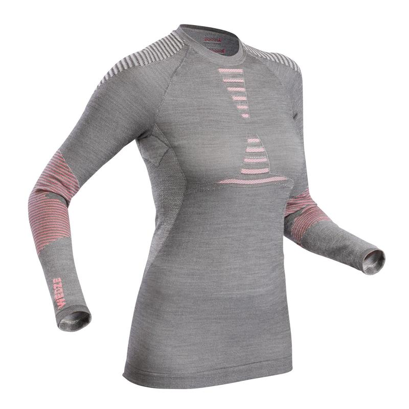 Women's Ski Base Layer Wool Top - Grey/Pink