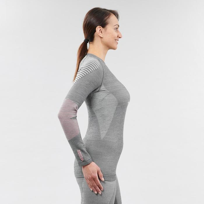 Thermoshirt voor dames 900 wol grijs/roze