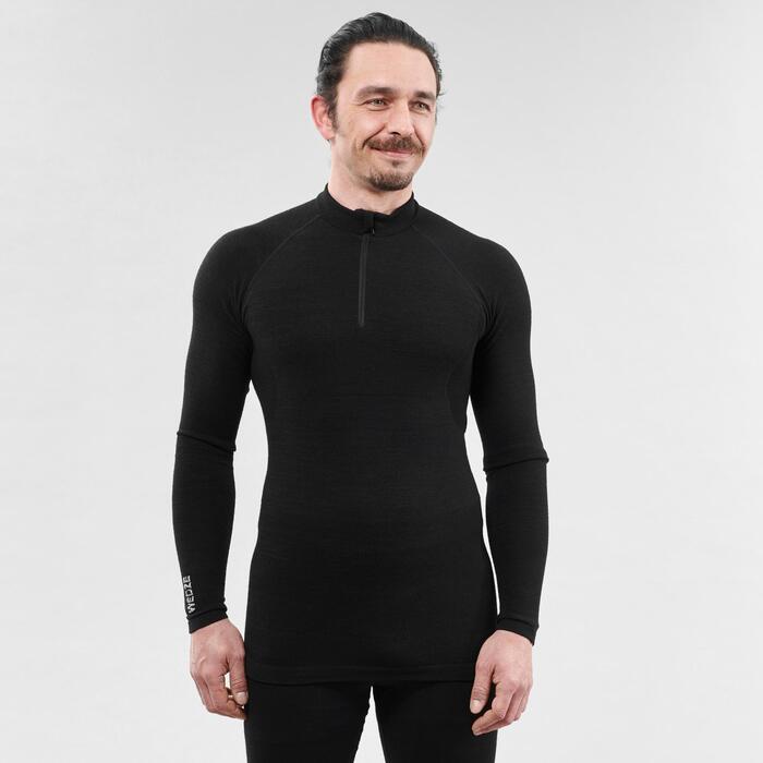 Thermoshirt voor skiën heren 900 X-Warm halve rits zwart