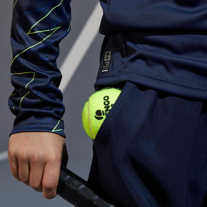 Tennisshort warm 500 Kinder marineblau/gelb