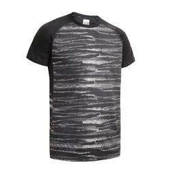 FTS 120 Fitness Cardio Training Slub T-Shirt - Black/Grey Print
