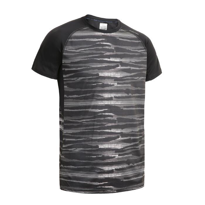 有氧健身T恤FTS 120–黑/灰印花款