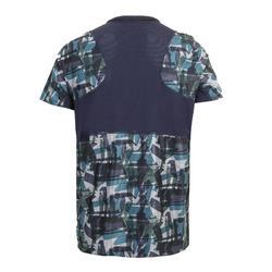 有氧健身訓練T恤FTS 500-卡其色/軍藍色
