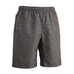 Men's Zip-Pocket Fitness Short With Mesh - Grey