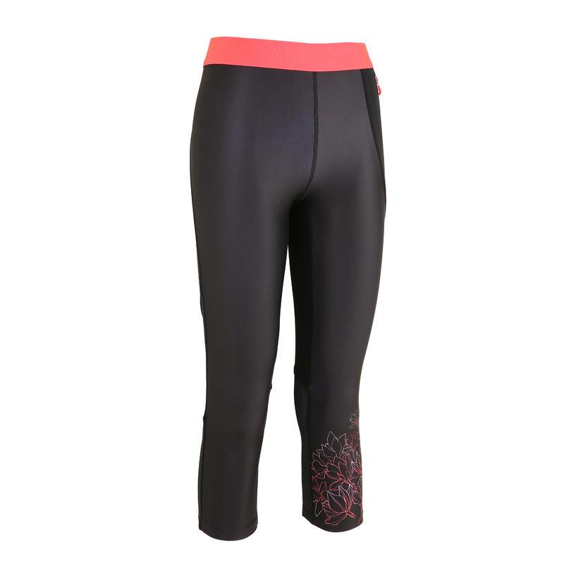 กางเกงเลกกิ้งผู้หญิงขา 7/8 ส่วนใส่ออกกำลังกายแบบคาร์ดิโอรุ่น 500 สีดำพิมพ์ลาย