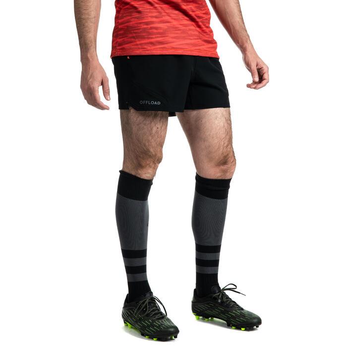 Pantalón corto Rugby Offload R500 hombre negro
