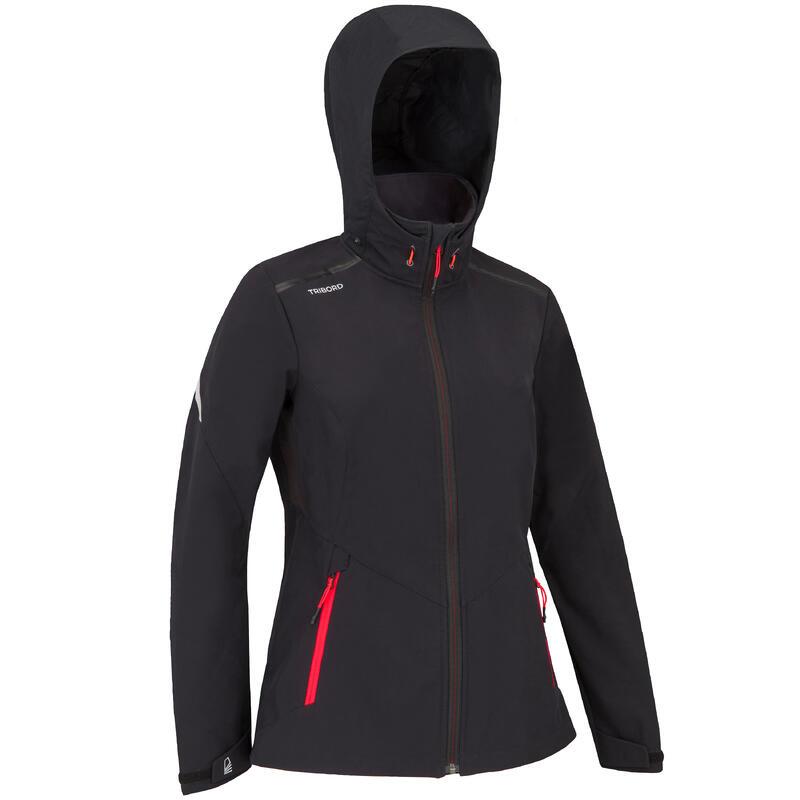 Jachetă Softshell anti-vânt navigație SAILING 900 Negru Damă
