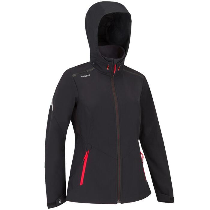 Sofshell jas voor wedstrijdzeilen dames zwart