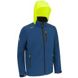 Softshell jas heren voor wedstrijdzeilen blauw/geel