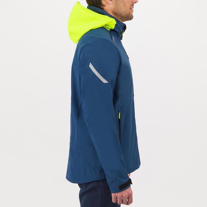 Softshell jas voor wedstrijdzeilen heren blauw/geel