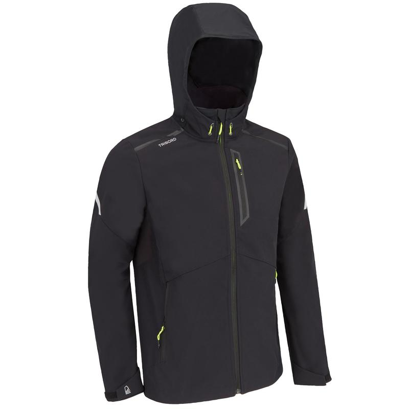 Winddichte softshell jas voor zeilen heren Sailing 900 zwart