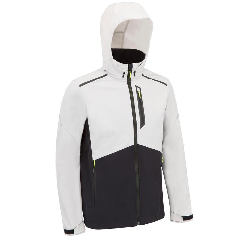 Winddichte softshell jas voor zeilen heren 900 grijs/zwart