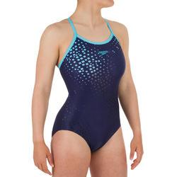 Sportbadpak dames zwemsport Thinstrap blauw