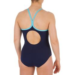 Sportbadpak zwemsport dames Thinstrap blauw