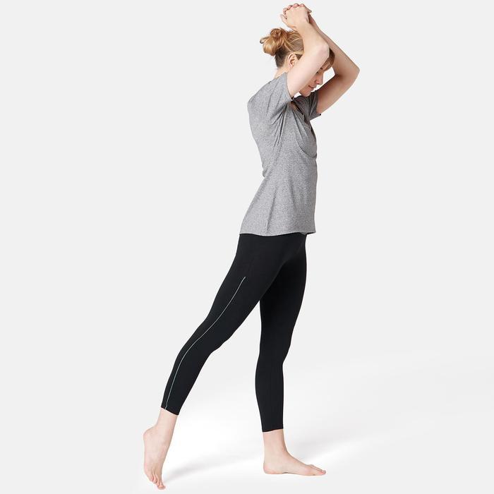 7/8-legging voor pilates en lichte gym dames 510 piping zwart/grijs