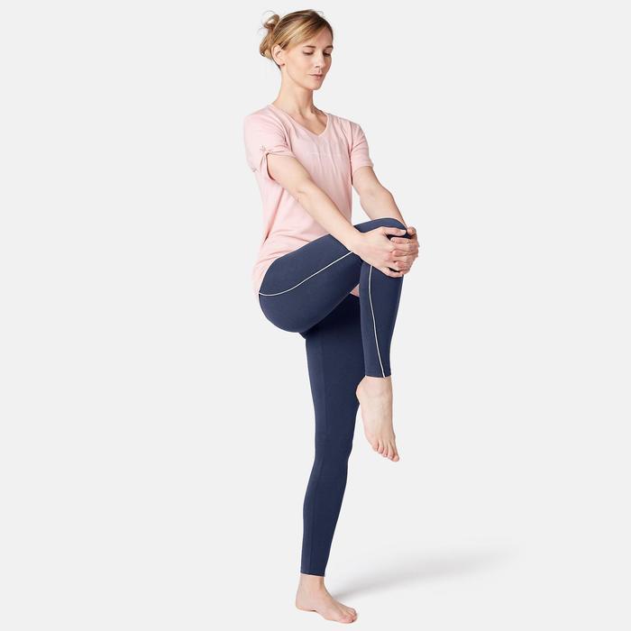 Legging sport taille haute en coton femme 510 bleu/rose
