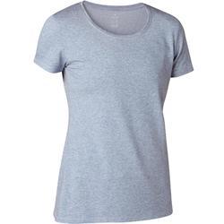 Dames T-shirt voor pilates en lichte gym 500 regular fit lichtblauw