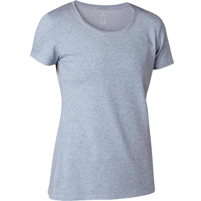 T-shirt voor pilates en lichte gym dames 500 regular fit lichtblauw
