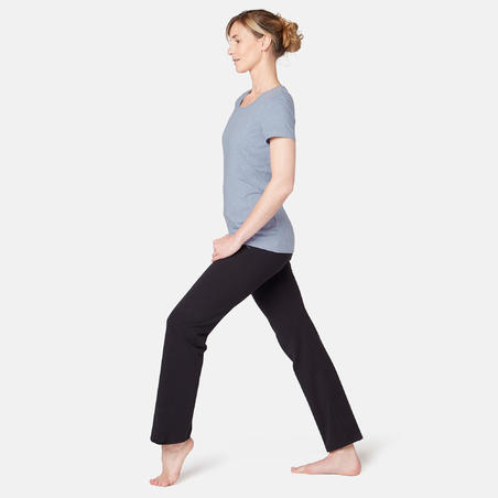 T-shirt sport pilates gym douce 500 régulier bleu clair– Femme