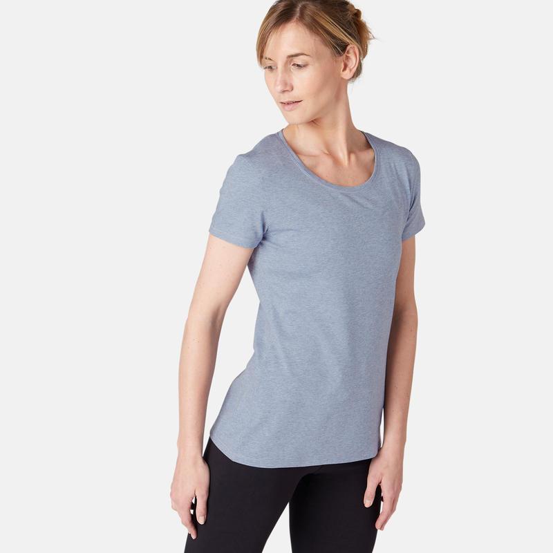 Women's Regular-Fit Pilates & Gentle Gym Sport T-Shirt 500 - Light Blue